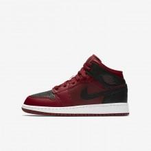 Air Jordan 1 Mid Lifestyle Shoes Boys Red/White/Red BG5671HA