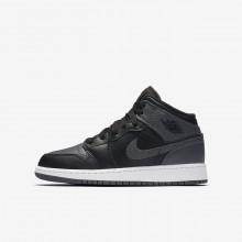 Air Jordan 1 Mid Lifestyle Shoes Boys Black/White/Dark Grey FJ7628NG