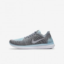 Nike Free RN Flyknit Running Shoes Boys Metallic Silver/Grey/Dark Grey/Silver FY9351MG