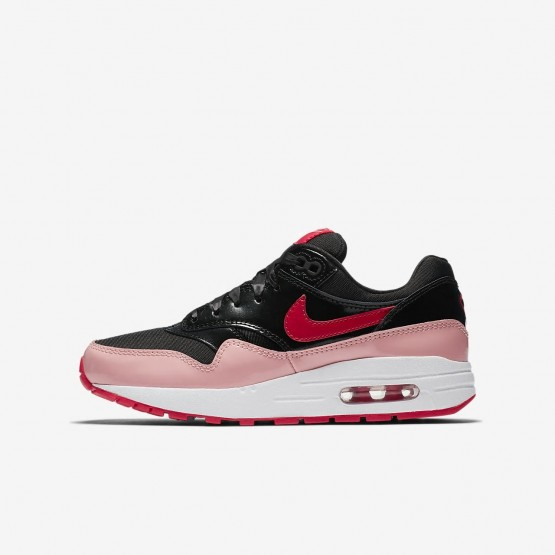 Nike Air Max 1 Lifestyle Shoes Girls Black/Coral/Red GQ1239NH