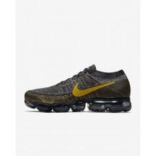 Nike Air VaporMax Flyknit Running Shoes Mens Black/Dark Grey/Gold KX1327ZS
