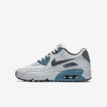 Nike Air Max 90 Lifestyle Shoes Boys Platinum/Light Turquoise/Dark Grey LO6862ZS