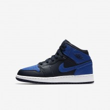 Air Jordan 1 Mid Lifestyle Shoes Boys Obsidian/White/Royal MO4853IE