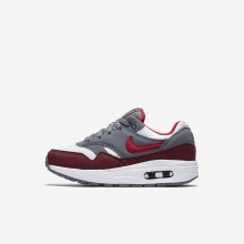Nike Air Max 1 Lifestyle Shoes Boys White/Grey/Red OA5536MH
