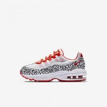 Nike Air Max 95 Lifestyle Shoes Boys White/Black/Light Red/White OM6436BV