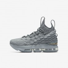 Nike LeBron 15 Basketball Shoes Boys Grey/Metallic Gold PC5004TY