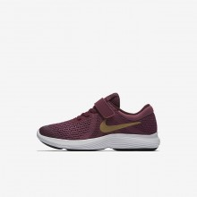 Nike Revolution 4 Running Shoes Girls Burgundy/White/Metallic Gold PO6795ZW