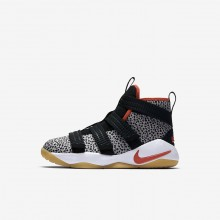 Nike LeBron Soldier XI Basketball Shoes Boys Black/White/Orange QA2364EU