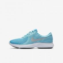 Nike Revolution 4 Running Shoes Girls Light Turquoise/Light Blue/White/Metallic Silver RD9342AO