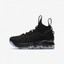 Nike LeBron 15 Basketball Shoes Boys Black/Metallic Gold RJ5702IT