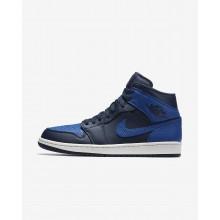 Air Jordan 1 Mid Lifestyle Shoes Mens Obsidian/White/Royal SI9076KQ