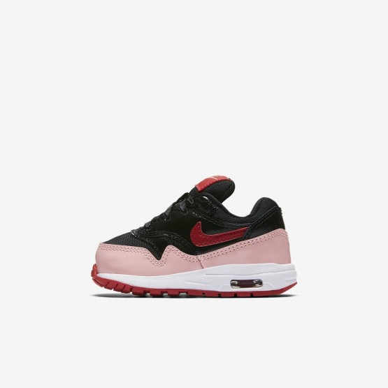 Nike Air Max 1 Lifestyle Shoes Girls Black/Coral/Red SU4089YJ