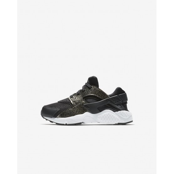 Nike Huarache Lifestyle Shoes Girls Black/Metallic Gold/White/Black TR7322OJ