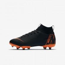 Nike Jr. Superfly VI Academy MG Soccer Cleats Boys Black/White/Orange UM5238NZ