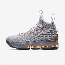 Nike LeBron 15 Basketball Shoes Boys Black/Dark Grey/Orange VG5145SK