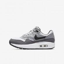 Nike Air Max 1 Lifestyle Shoes Boys White/Grey/Black VU1541FH