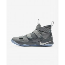 Nike LeBron Soldier XI Basketball Shoes Womens Grey/Metallic Gold/Platinum VX6306OS