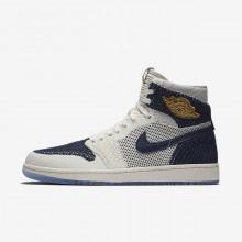 Air Jordan 1 Retro High Lifestyle Shoes Mens Navy/Metallic Gold WG5329WT