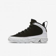 Air Jordan 9 Retro Lifestyle Shoes Boys Black/White/Metallic Gold/Black XH1660SY