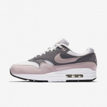 Nike Air Max 1 Lifestyle Shoes Womens Grey/Black/Rose XU2788DE