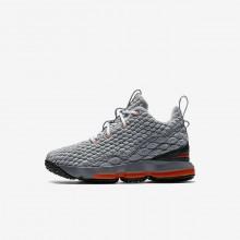 Nike LeBron 15 Basketball Shoes Boys Black/Dark Grey/Orange YC4330EN