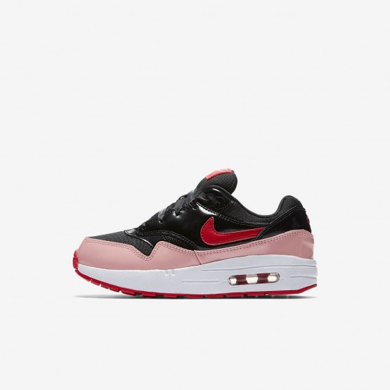 Nike Air Max 1 Lifestyle Shoes Girls Black/Coral/Red YH2099ZY