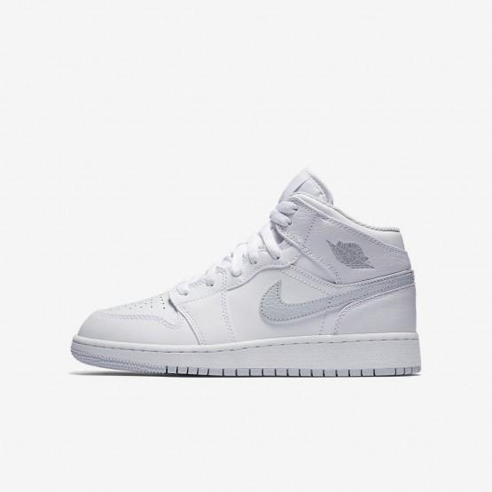 Air Jordan 1 Mid Lifestyle Shoes Boys White/Platinum YH9993NJ