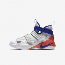 Nike LeBron Soldier XI Basketball Shoes Boys White/Red/Platinum/Blue YM1127SC