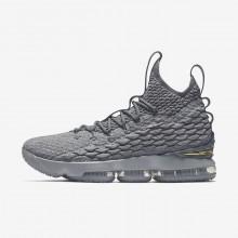 Nike LeBron 15 Basketball Shoes Womens Grey/Metallic Gold ZQ5084PS